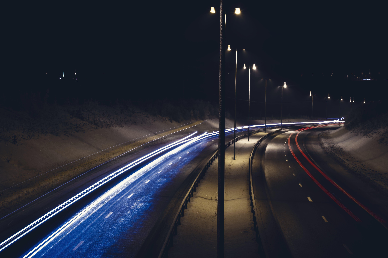 Free stock photo of brake light, car, Slow shutter