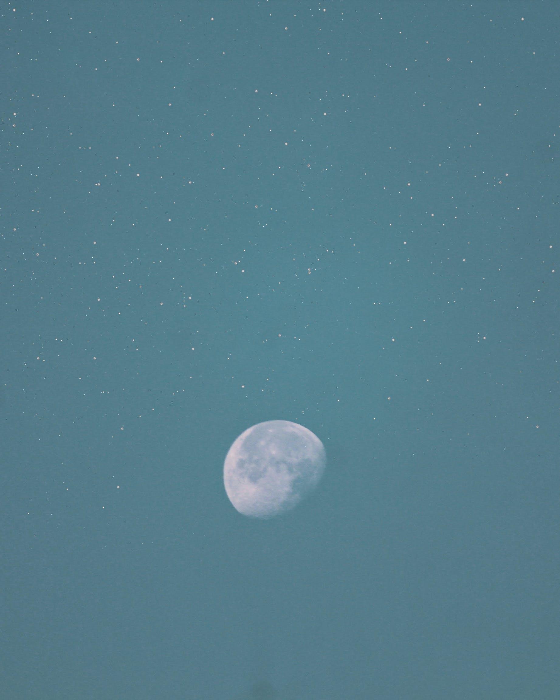 Free stock photo of blue sky, full of stars, moody, moon