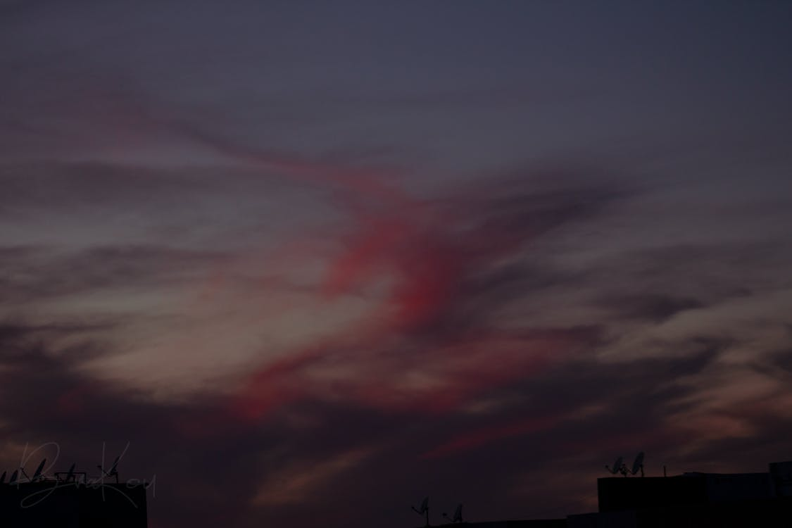 bulutlu gökyüzü, Fas, gün batımı