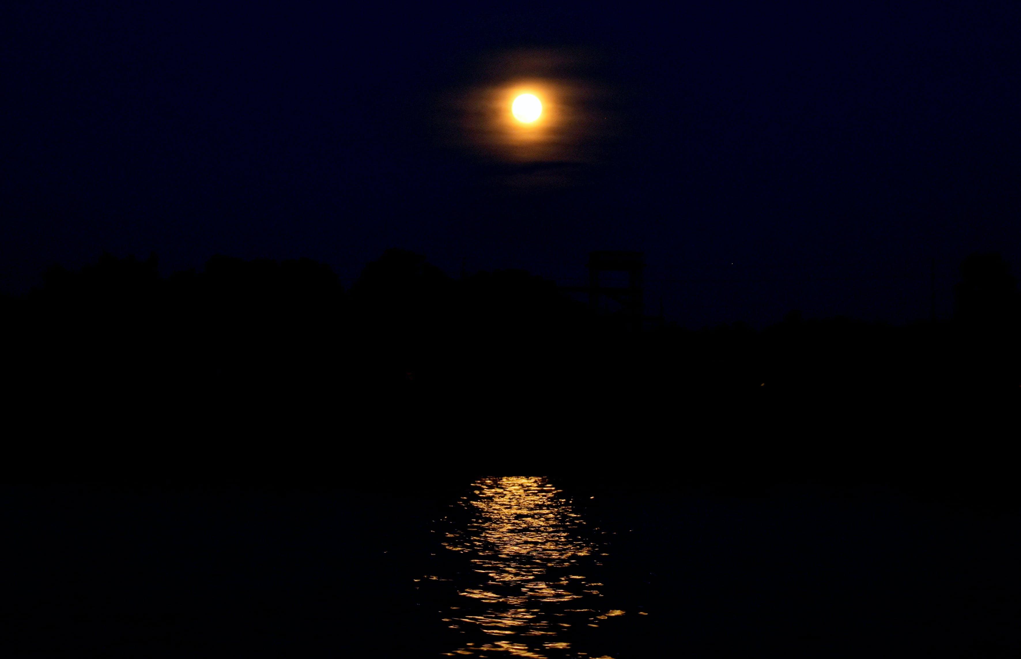 Free stock photo of river, full moon