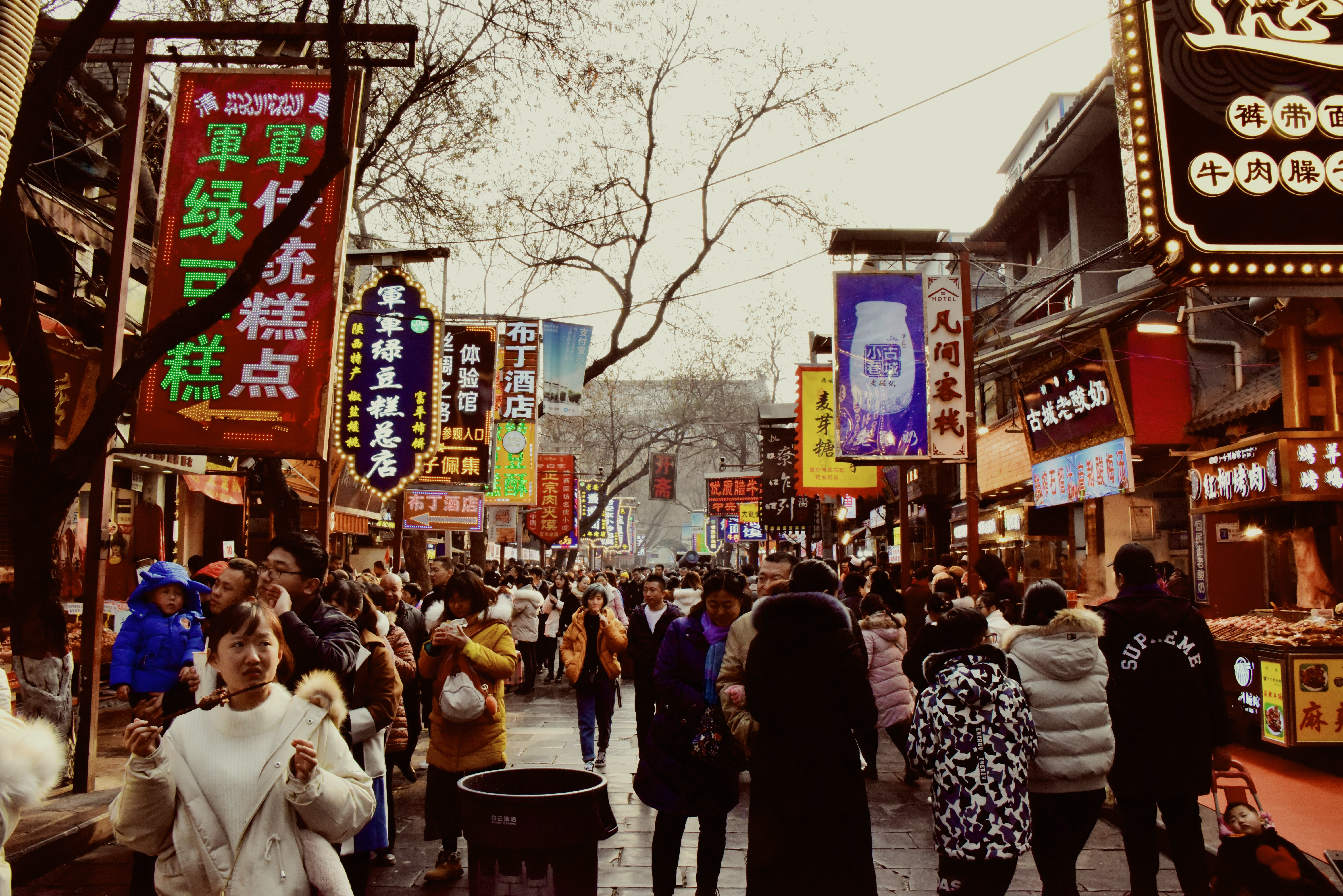 Free stock photo of chinese street market, winter street market