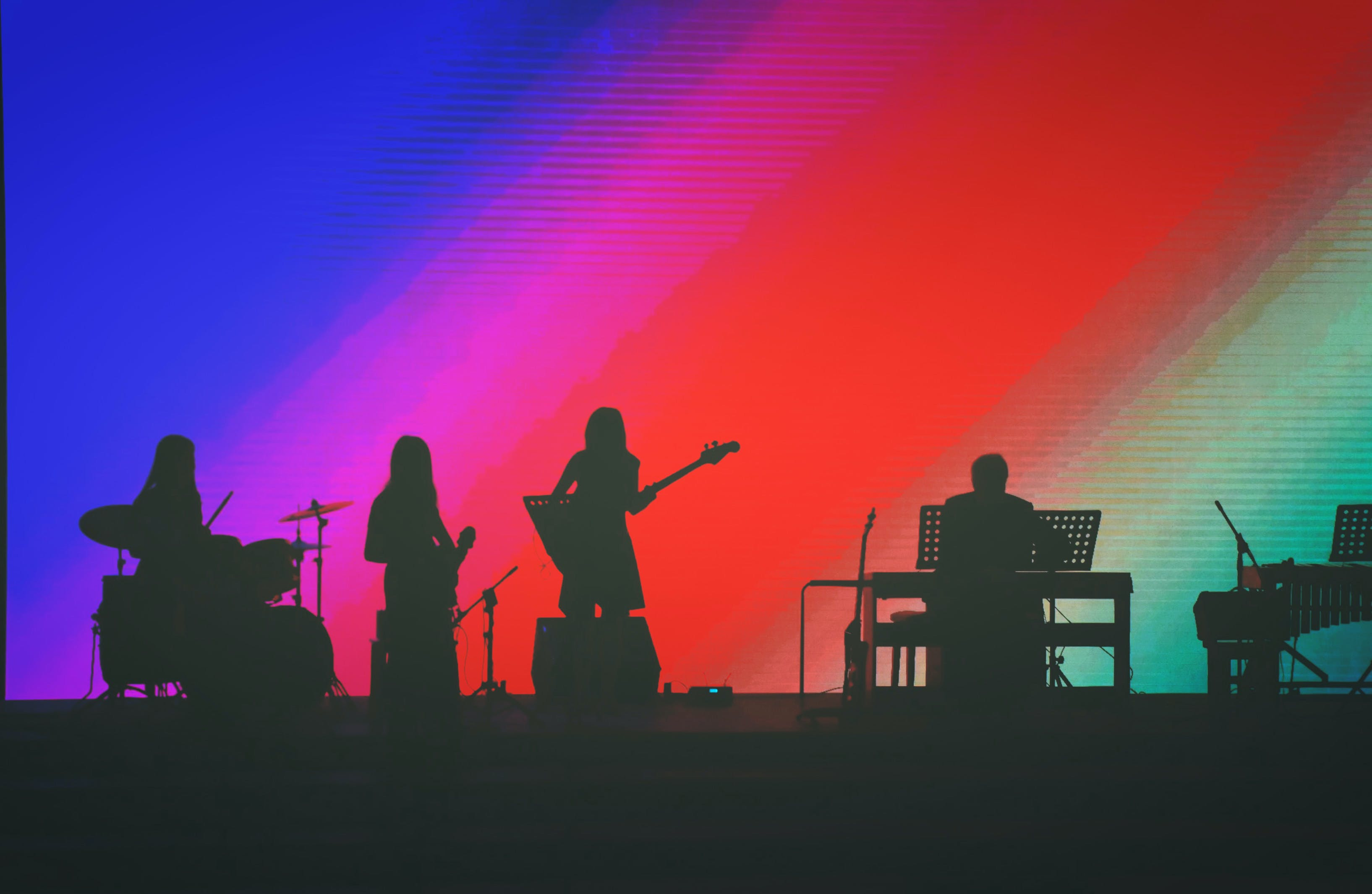 Free stock photo of music band, rainbow colors