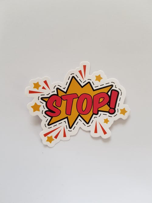 Red and Yellow Stop! Sticker
