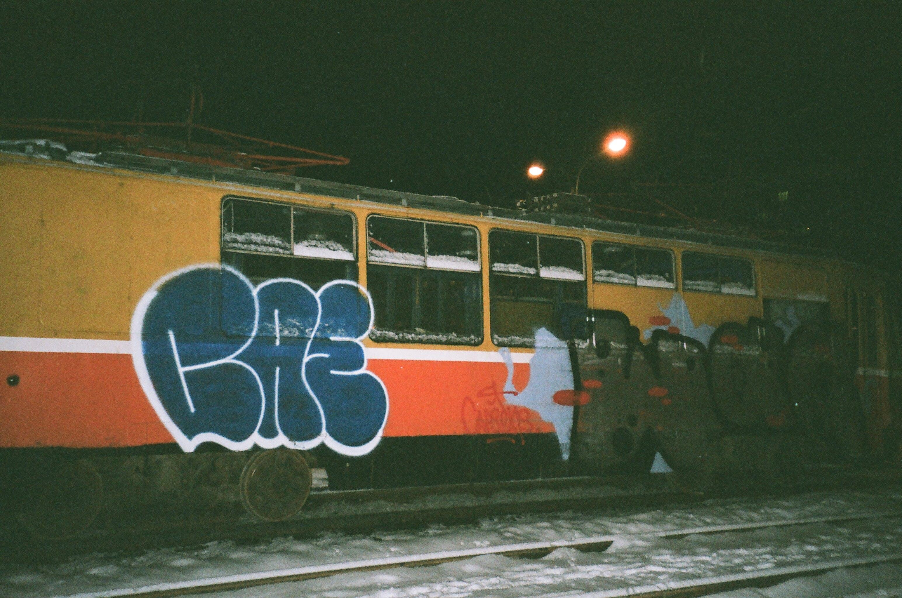 Yellow and Rd Train Ta Night