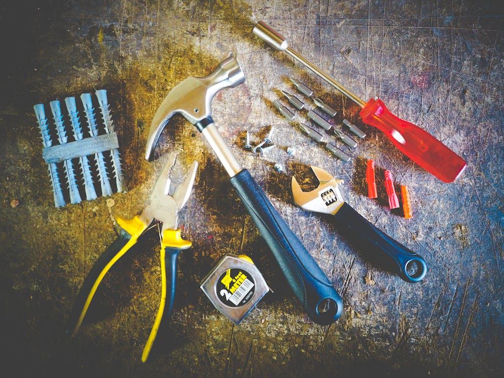 hammer, håndværktøj, målebånd