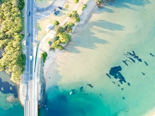 Aerial Photography Of Road And Ocean