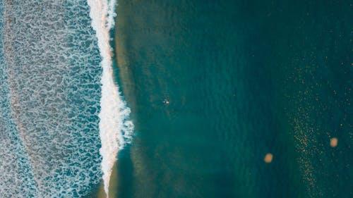 Gratis lagerfoto af bølger, costa de caparica, fra oven, fugleperspektiv