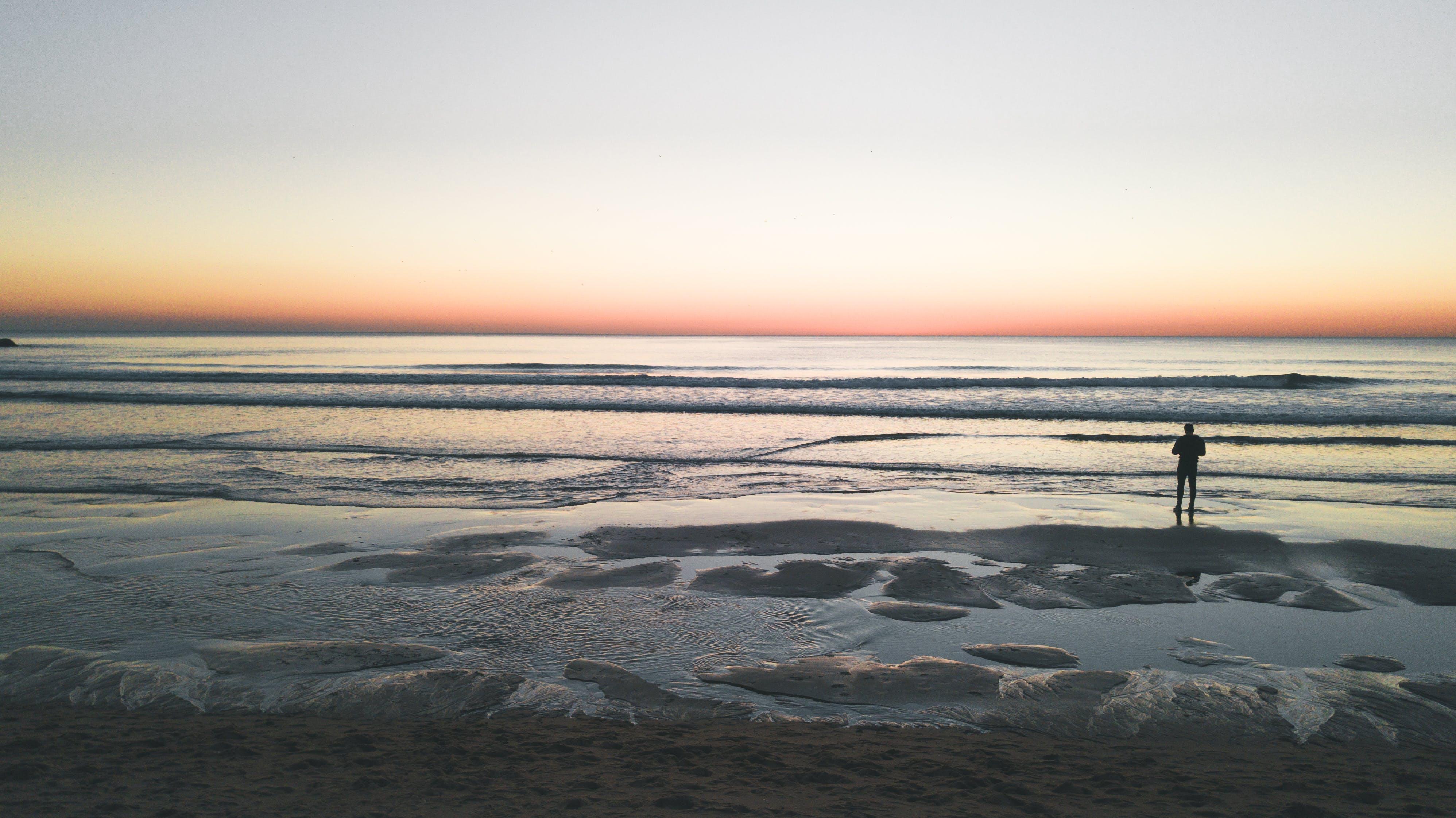 Δωρεάν στοκ φωτογραφιών με costa de caparica, ακτή, άμμος, Ανατολή ηλίου
