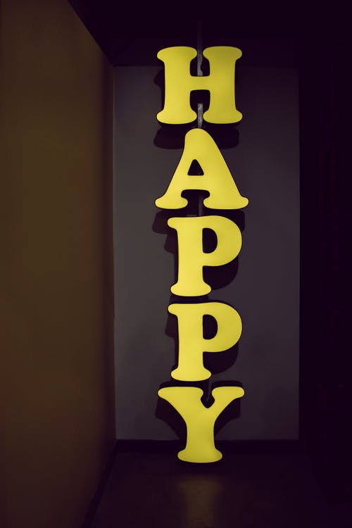 Yellow Happy Wooden Decor