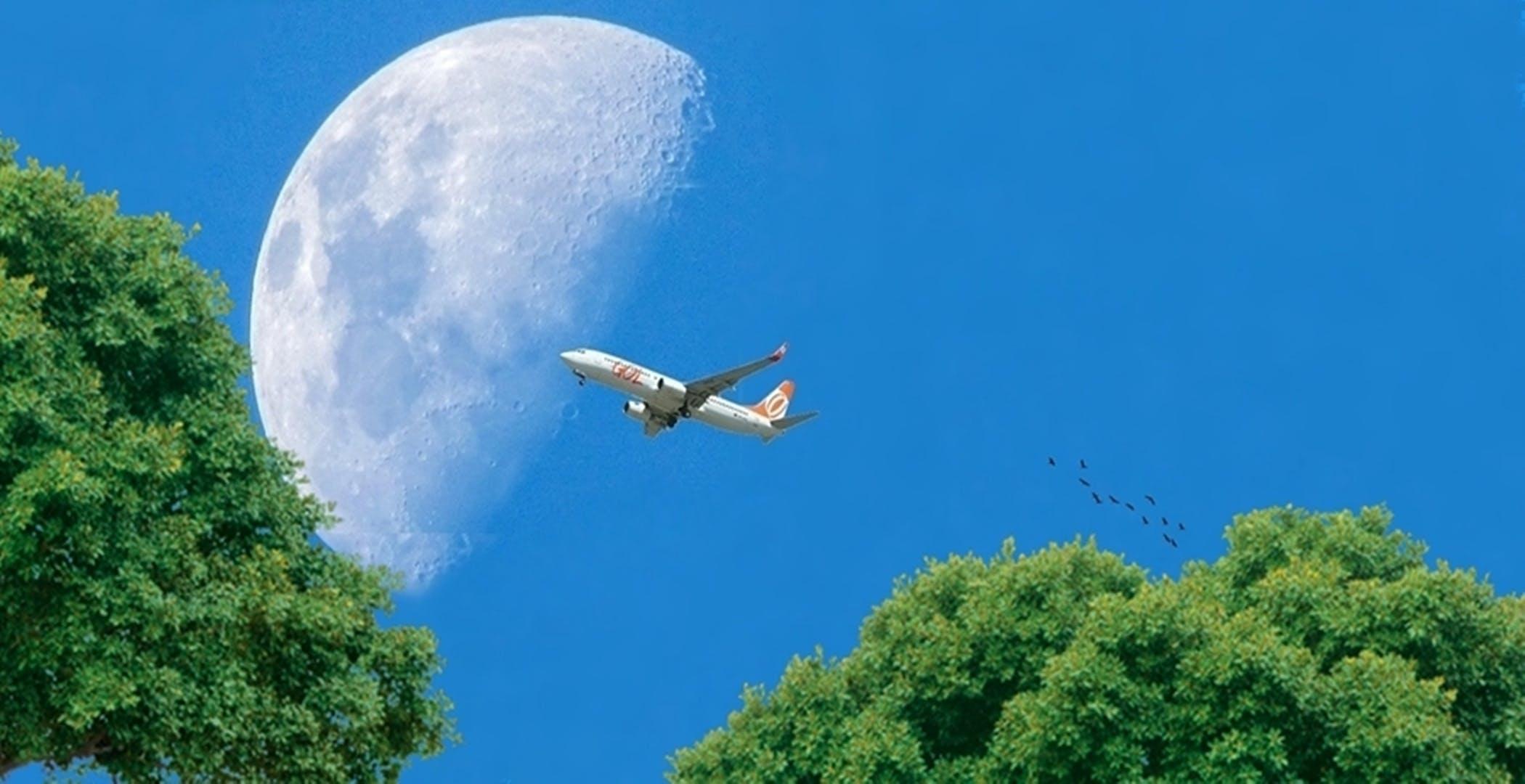 avião, céu azul, lua