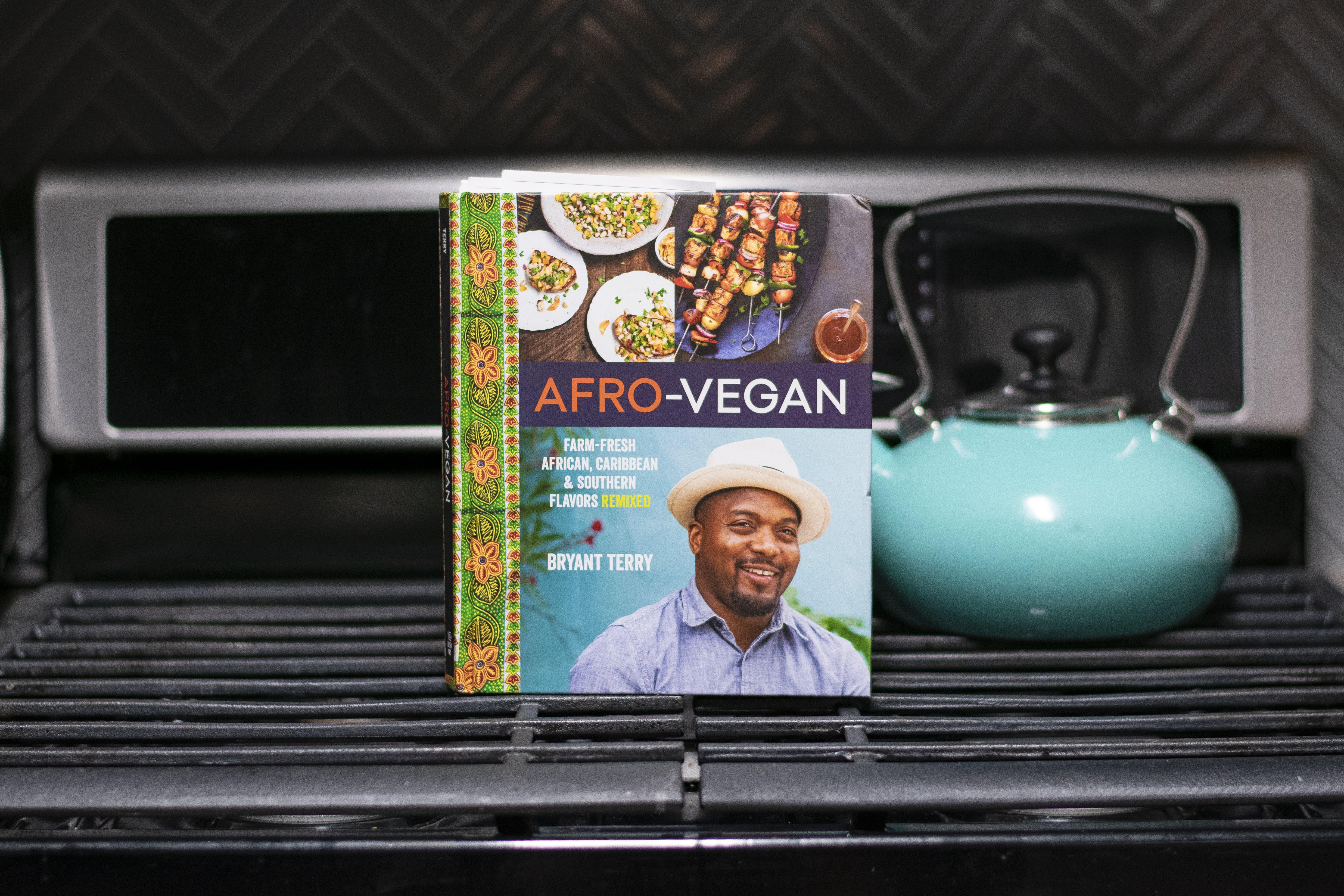 Afro-vegan Cookbook on Black Gas Range Oven