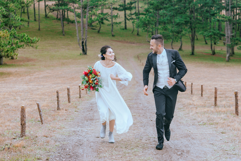 Bride and Groom Running