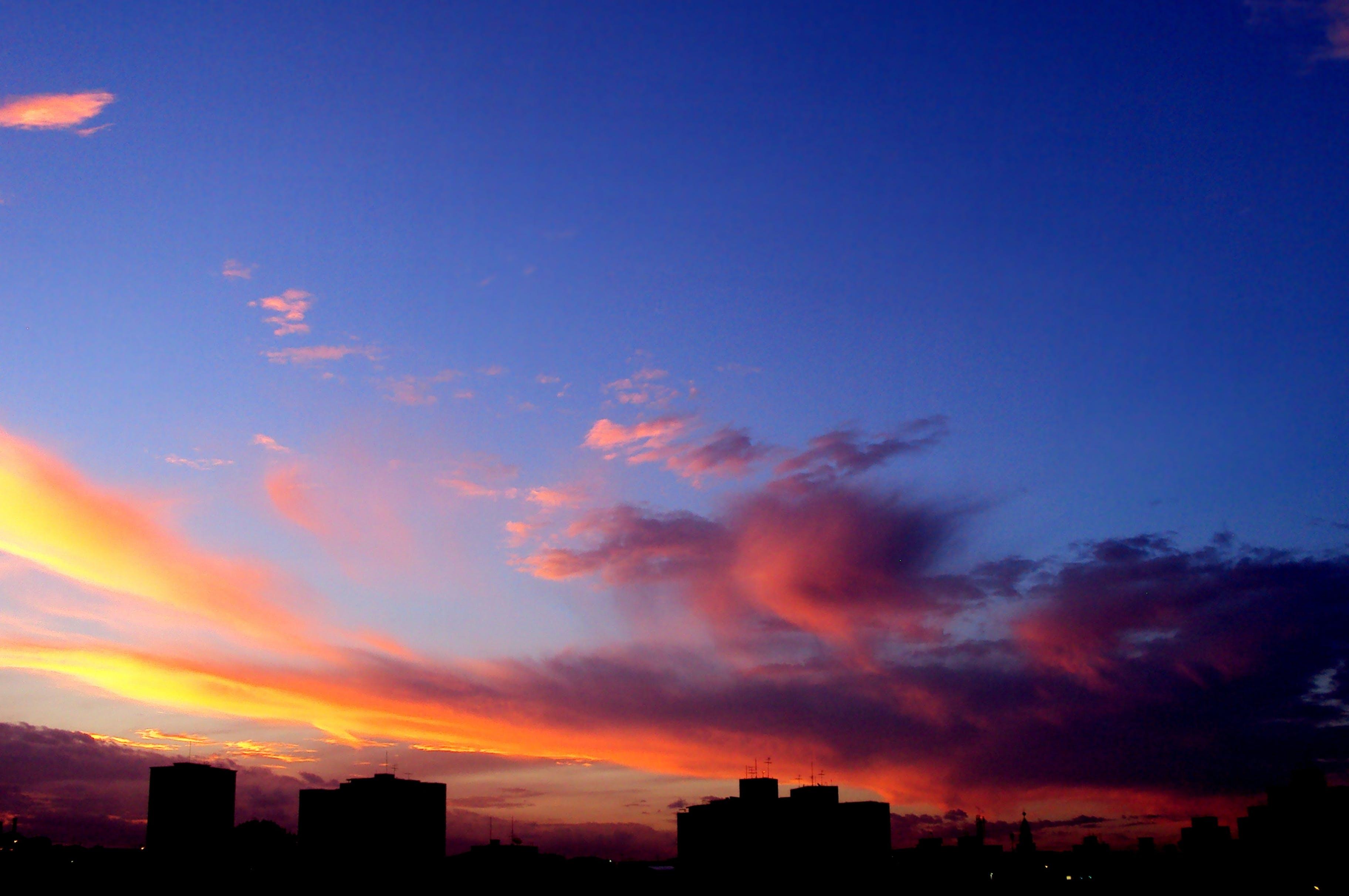 céu, nuvens, poente