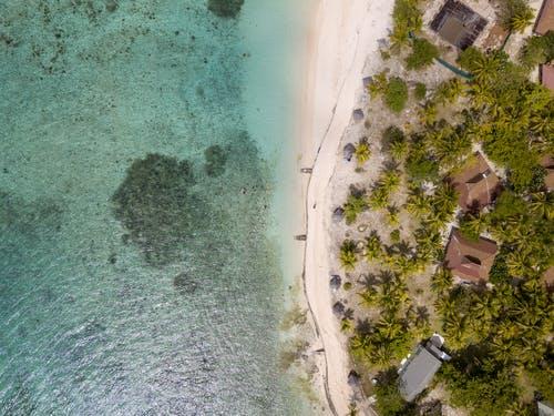 Aerial View Of Beach And Huts