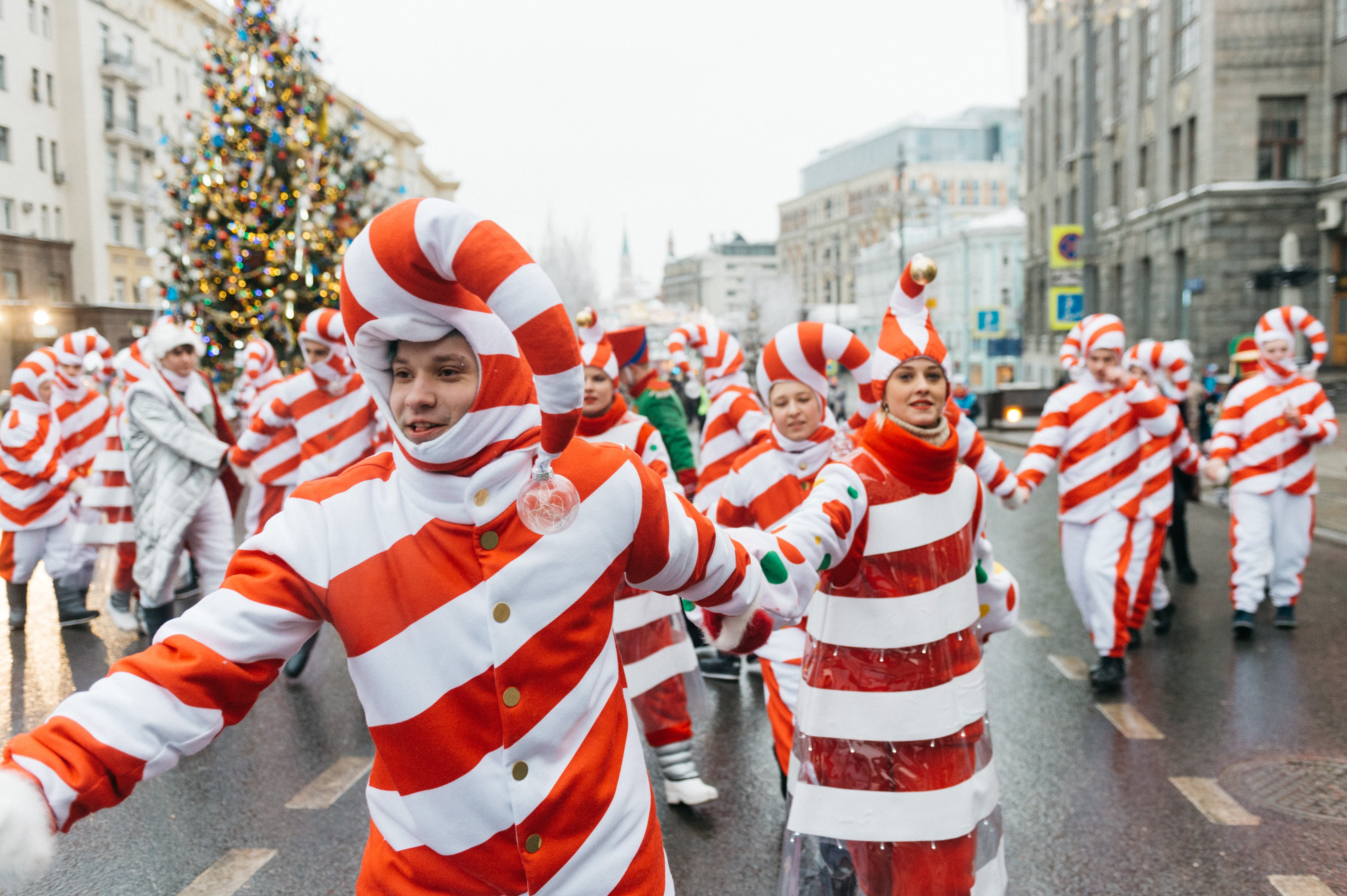 People Wearing Candy Cane Costume