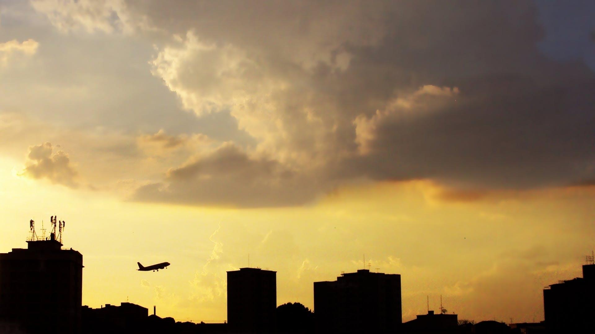avião, decolagem., poente