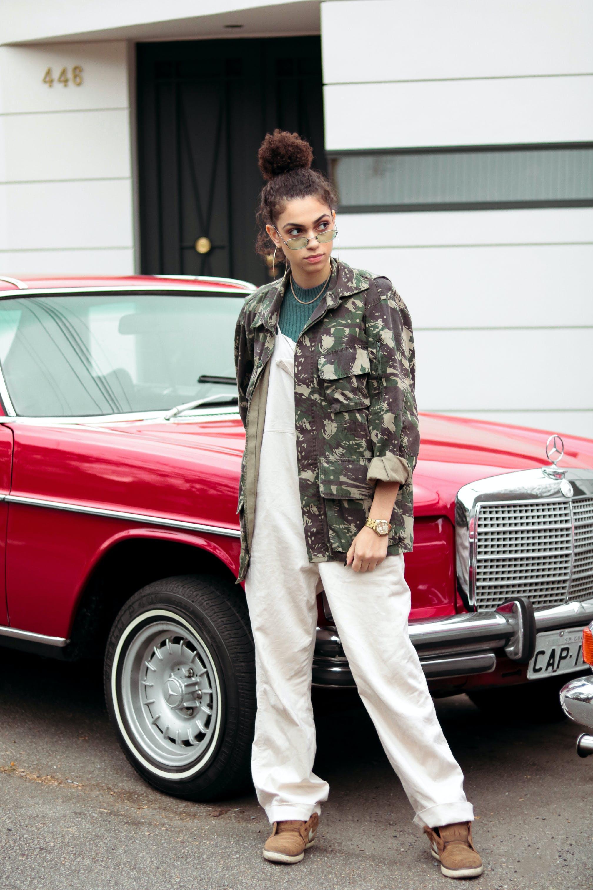 Woman Standing Beside Vintage Mercedes Benz Car