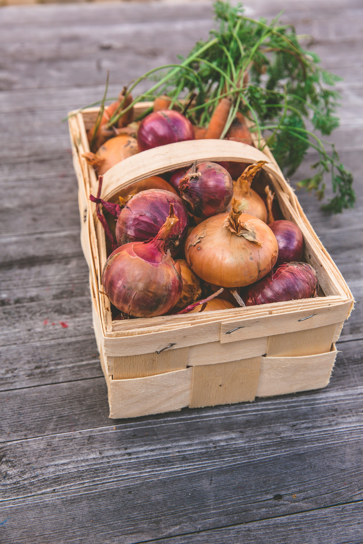 de cebollas, cosecha, de madera, vegetales