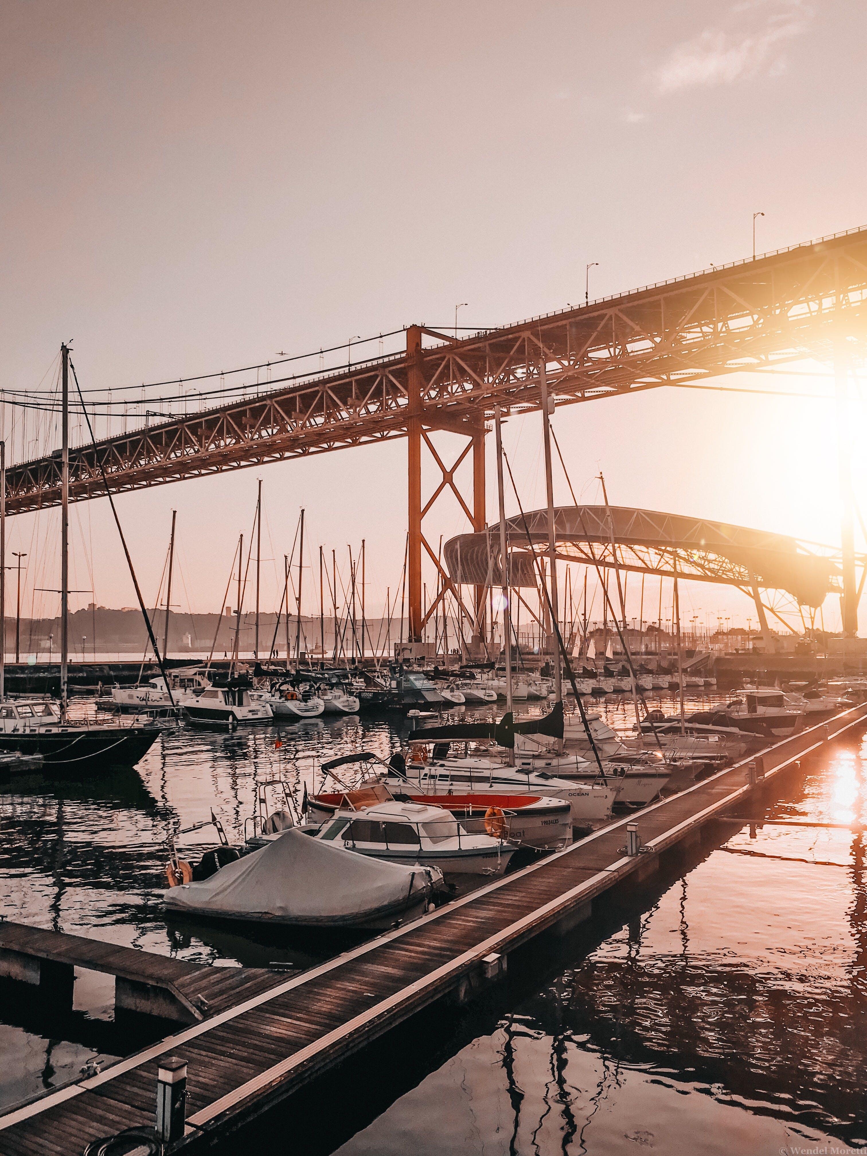 คลังภาพถ่ายฟรี ของ ตะวันลับฟ้า, ทะเล, ท่าเรือ, พระอาทิตย์ขึ้น