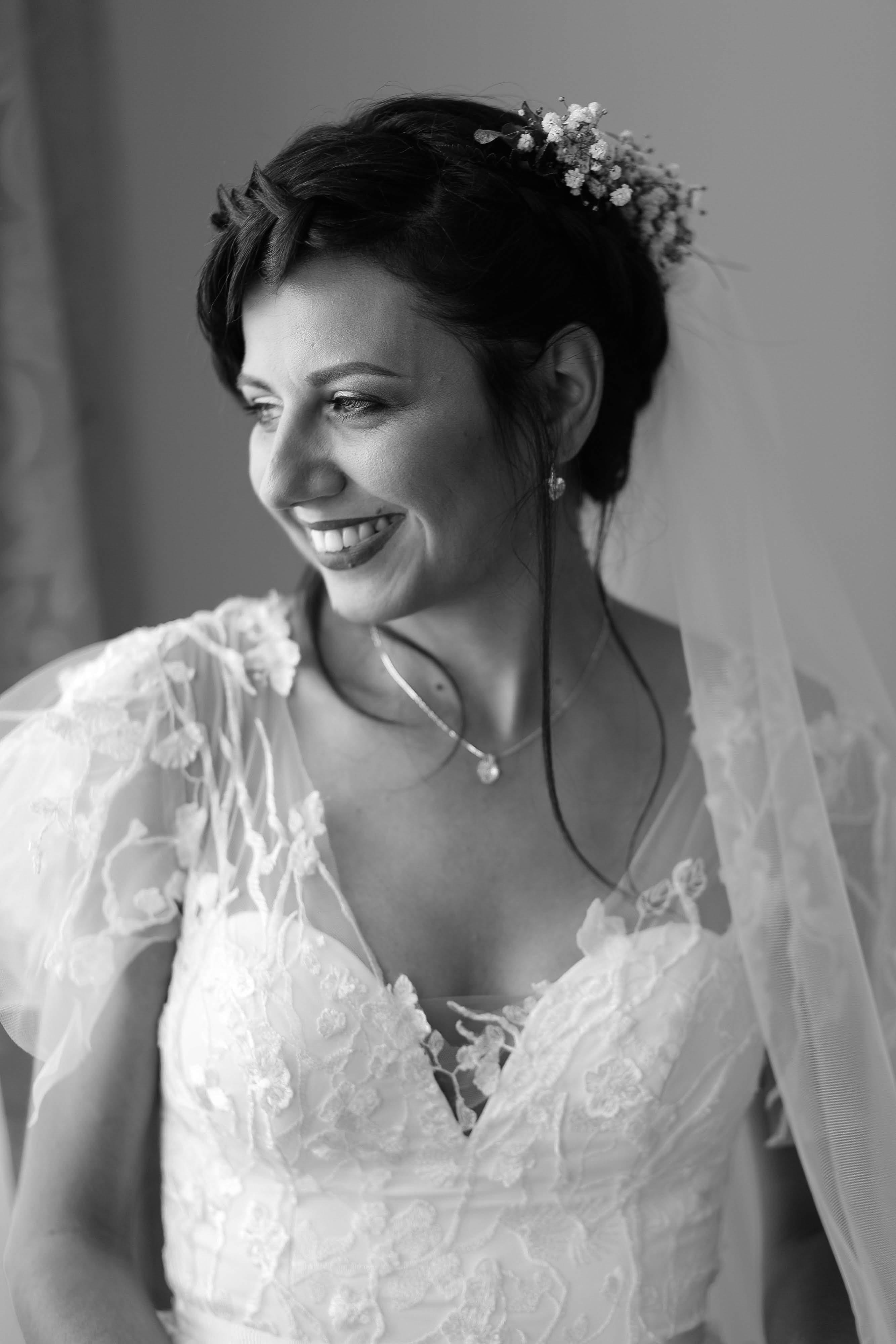 Monochrome Photo of Woman Wearing White Dress