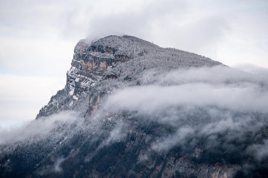 fjell, fjelltopp, nedtrykt