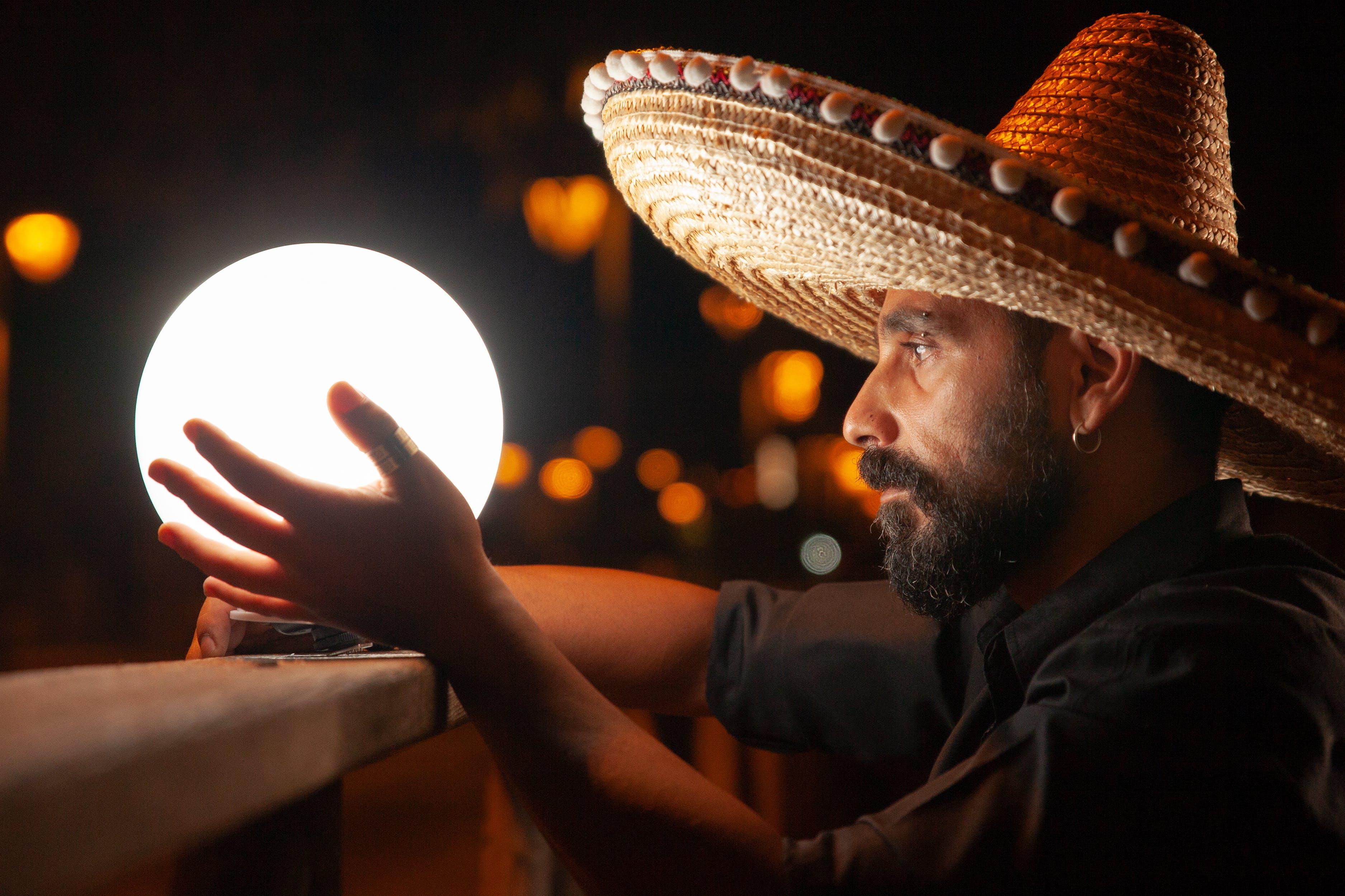 Man Holding White Light