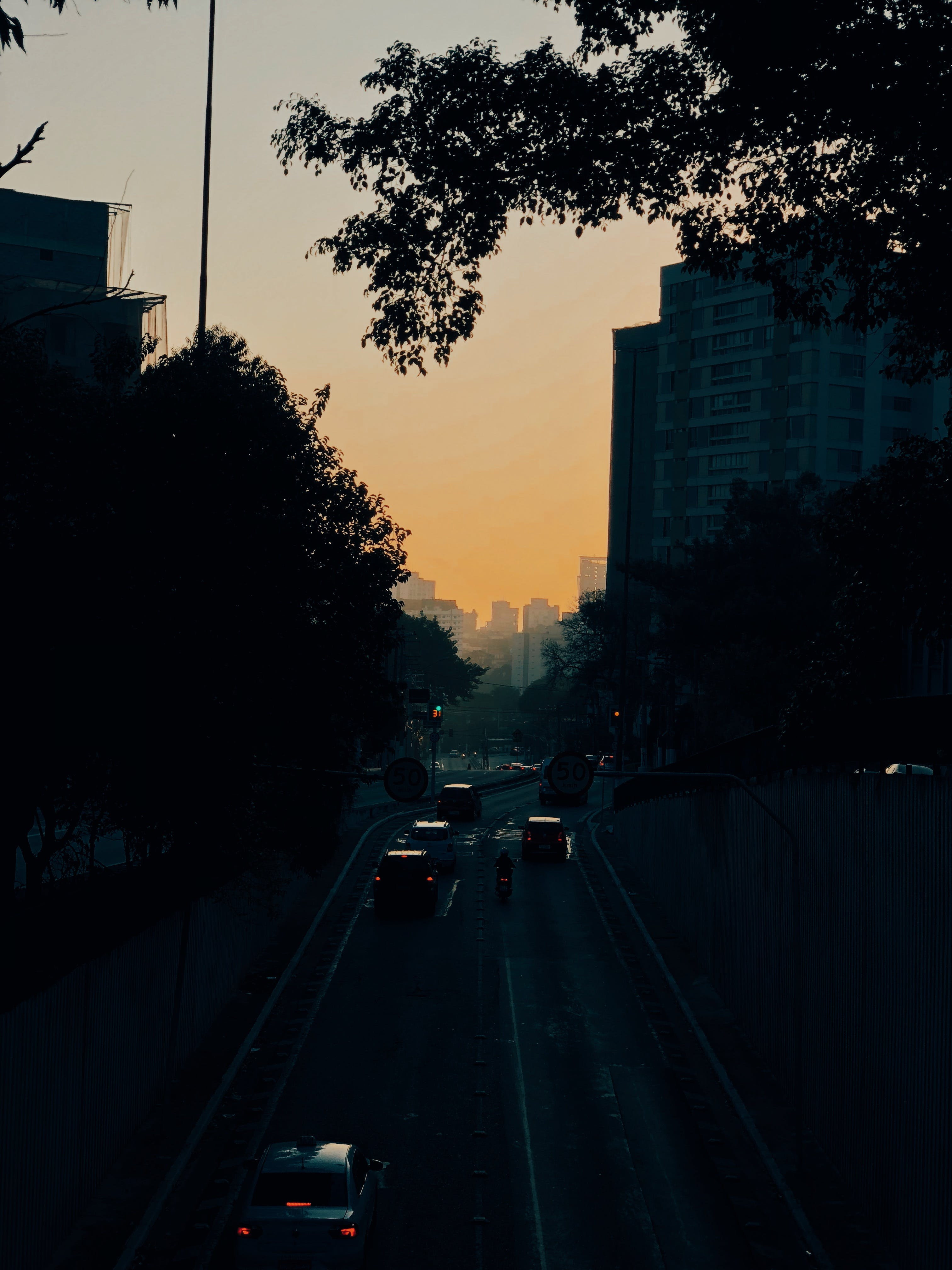 Cars on Road Between Buildings during Golden Hour