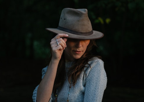 Woman in Brown Fedora Hat