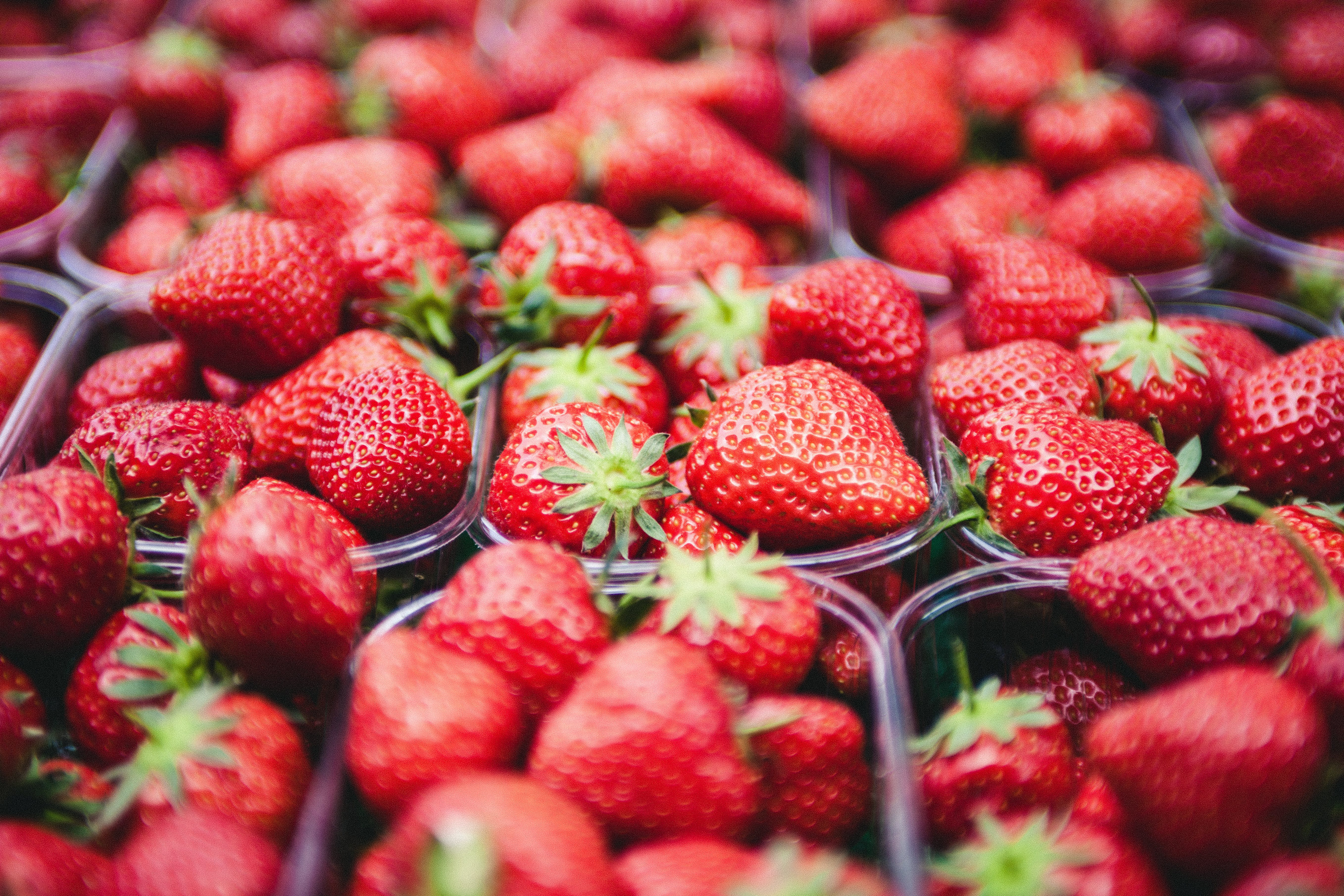 Strawberries on Clear Plastic Containers