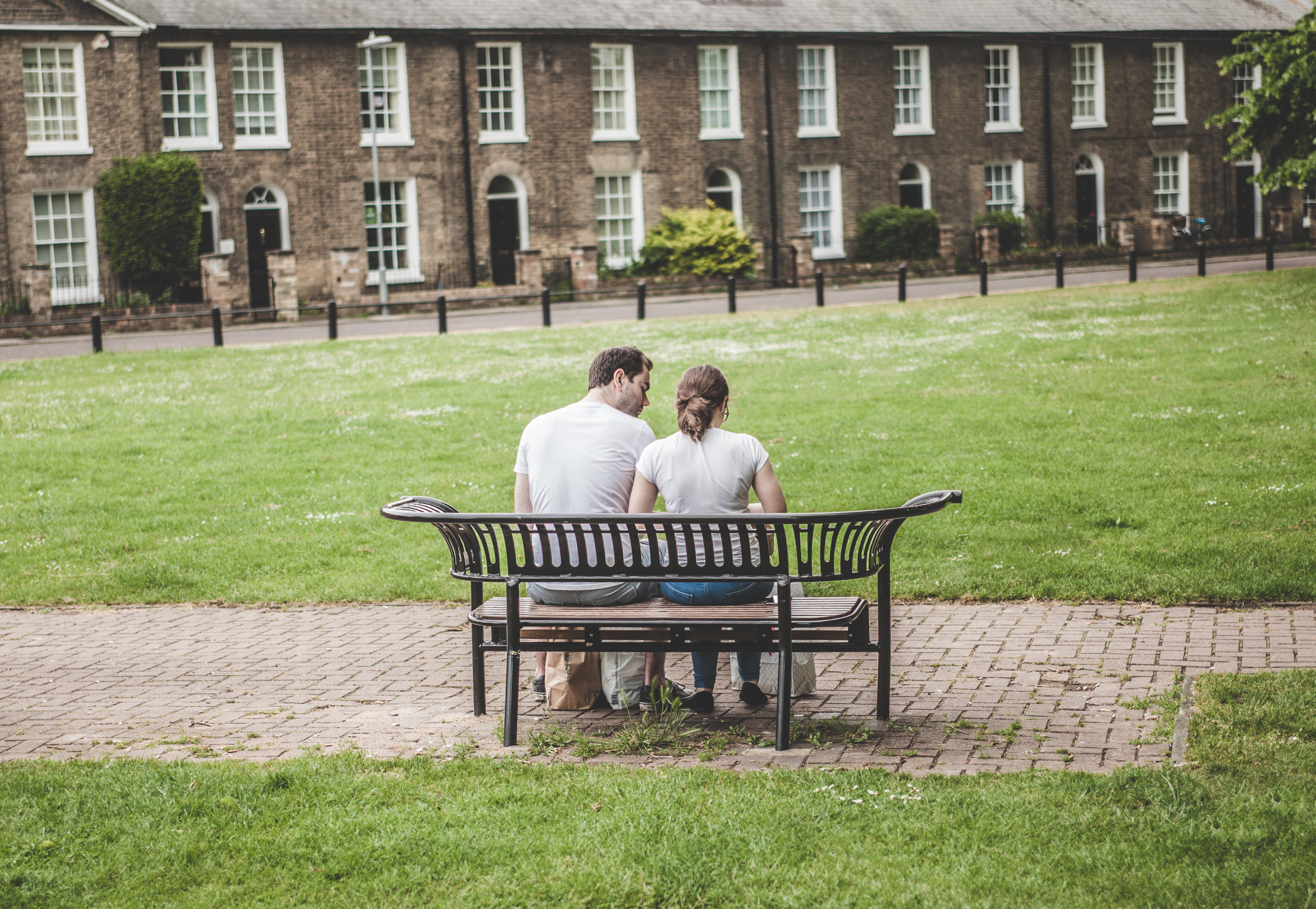 Free stock photo of bench, couple, building, sitting