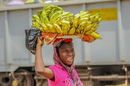 Person in Pink Top Carrying Cluster of Bananas