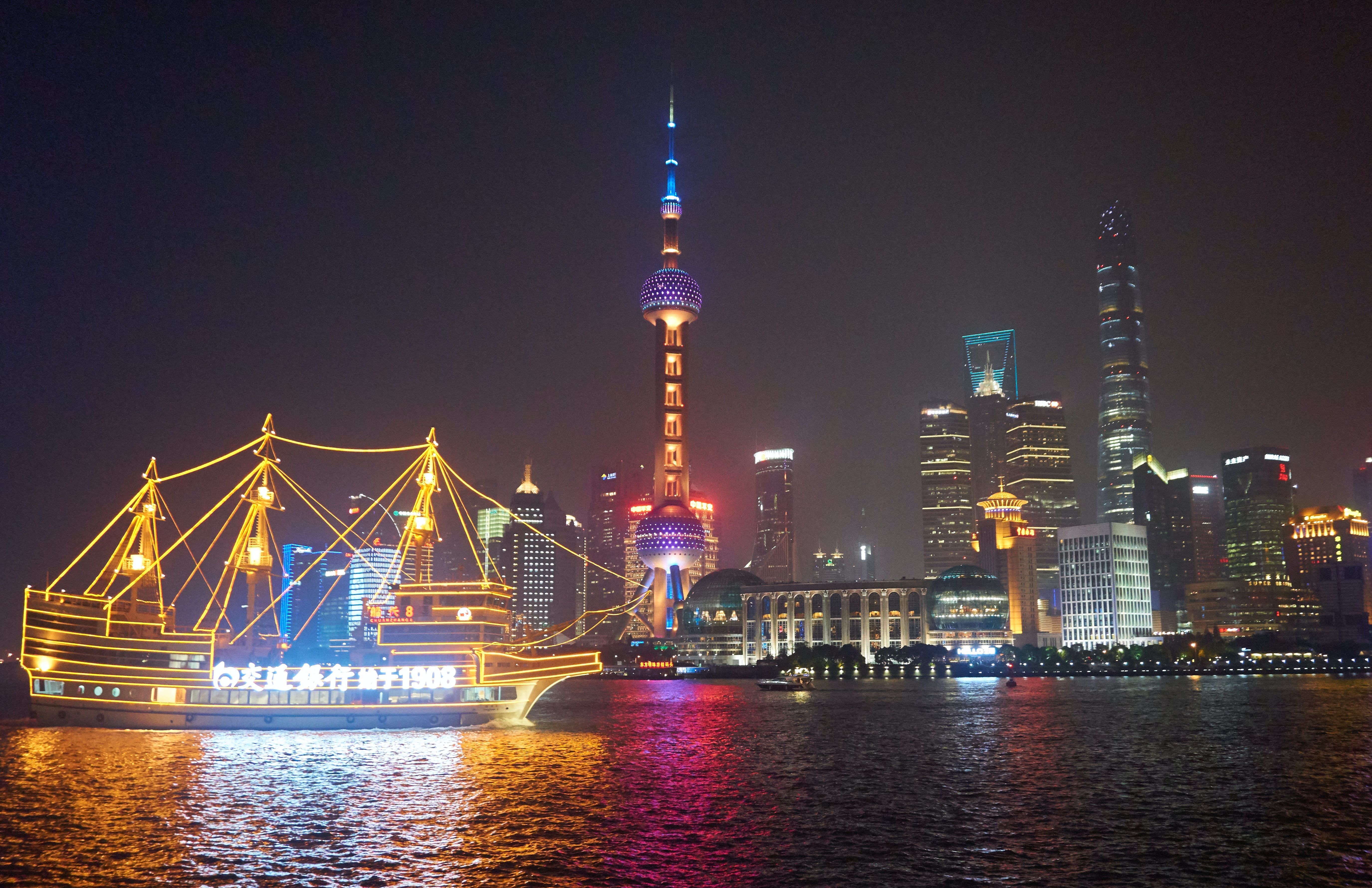 Free stock photo of high rise, night lights, reflections, shanghai