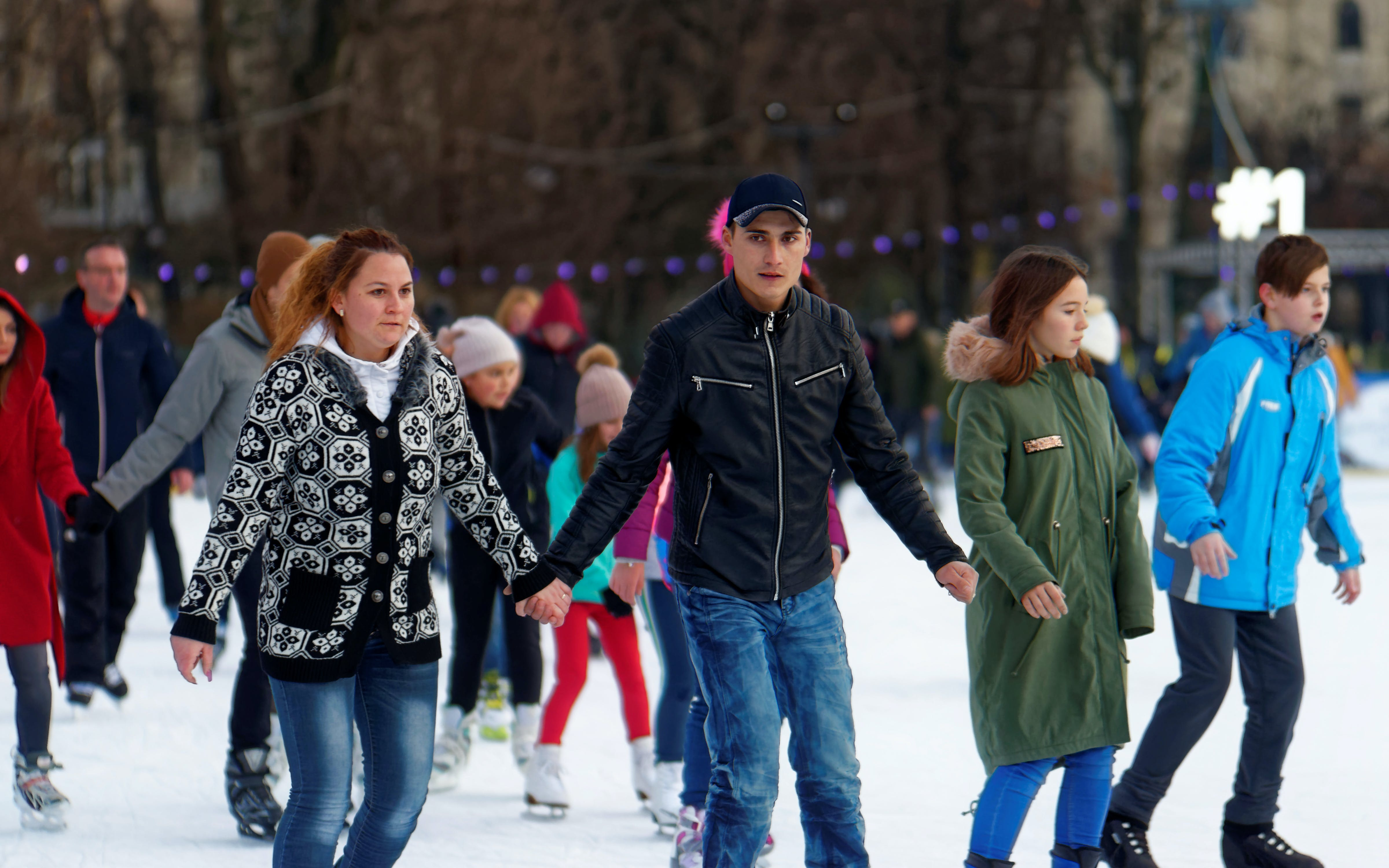 Free stock photo of ice skating rink, people, young couple, young people