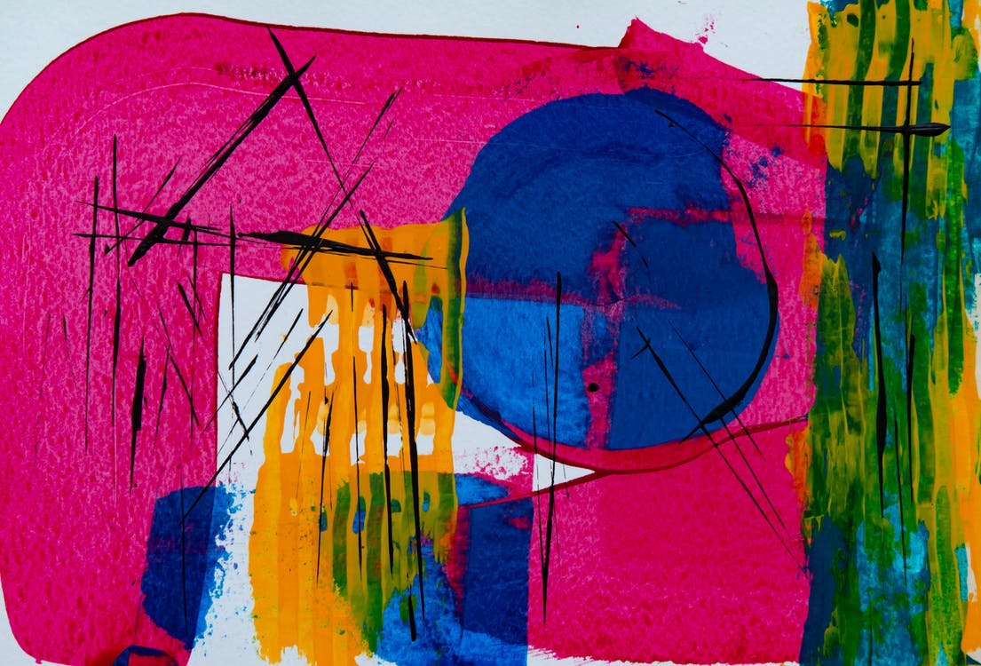 Pink, Green, and Blue Abstract Painting
