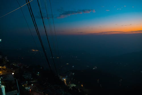 Free stock photo of dawn, hill station, Mussoorie, power lines