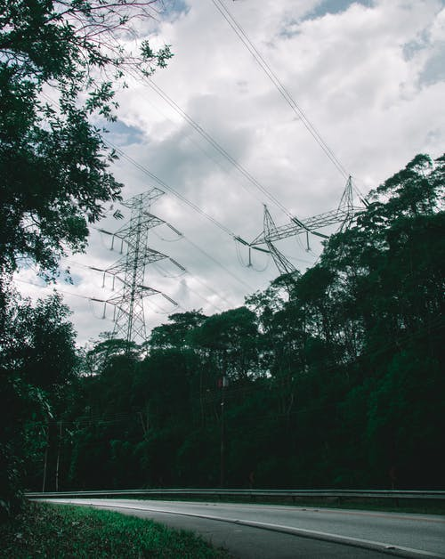 Free stock photo of forest, power line, power station, road