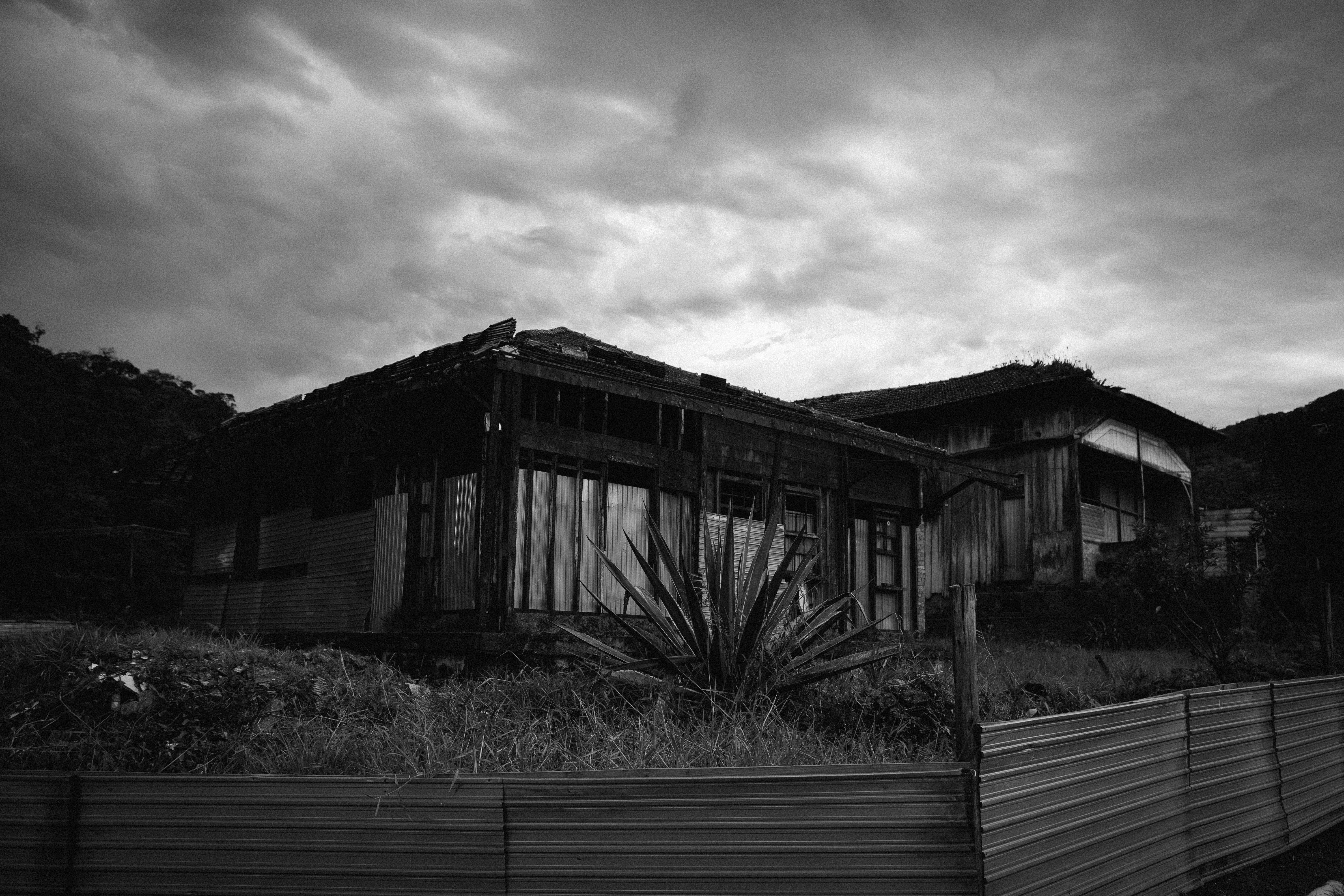 Monochrome Photo of Old House