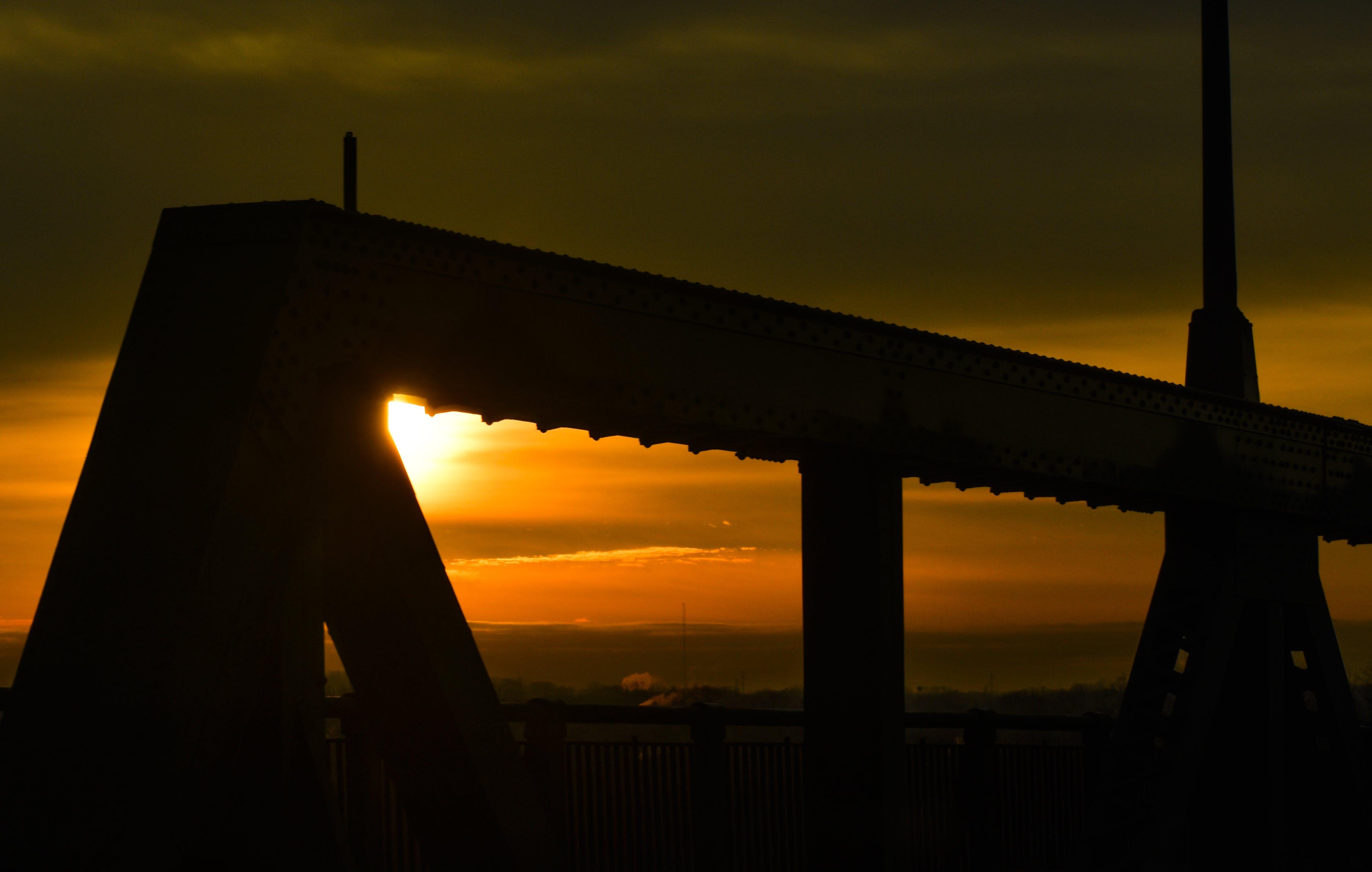 Gratis lagerfoto af bro, gule himmel, ny jersey, orange himmel