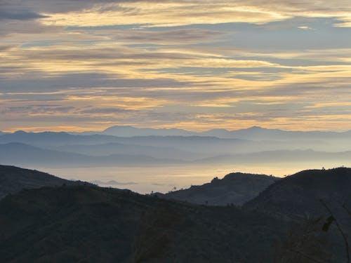 Imagine de stoc gratuită din cerul de aur, linia de munte, munți, natură