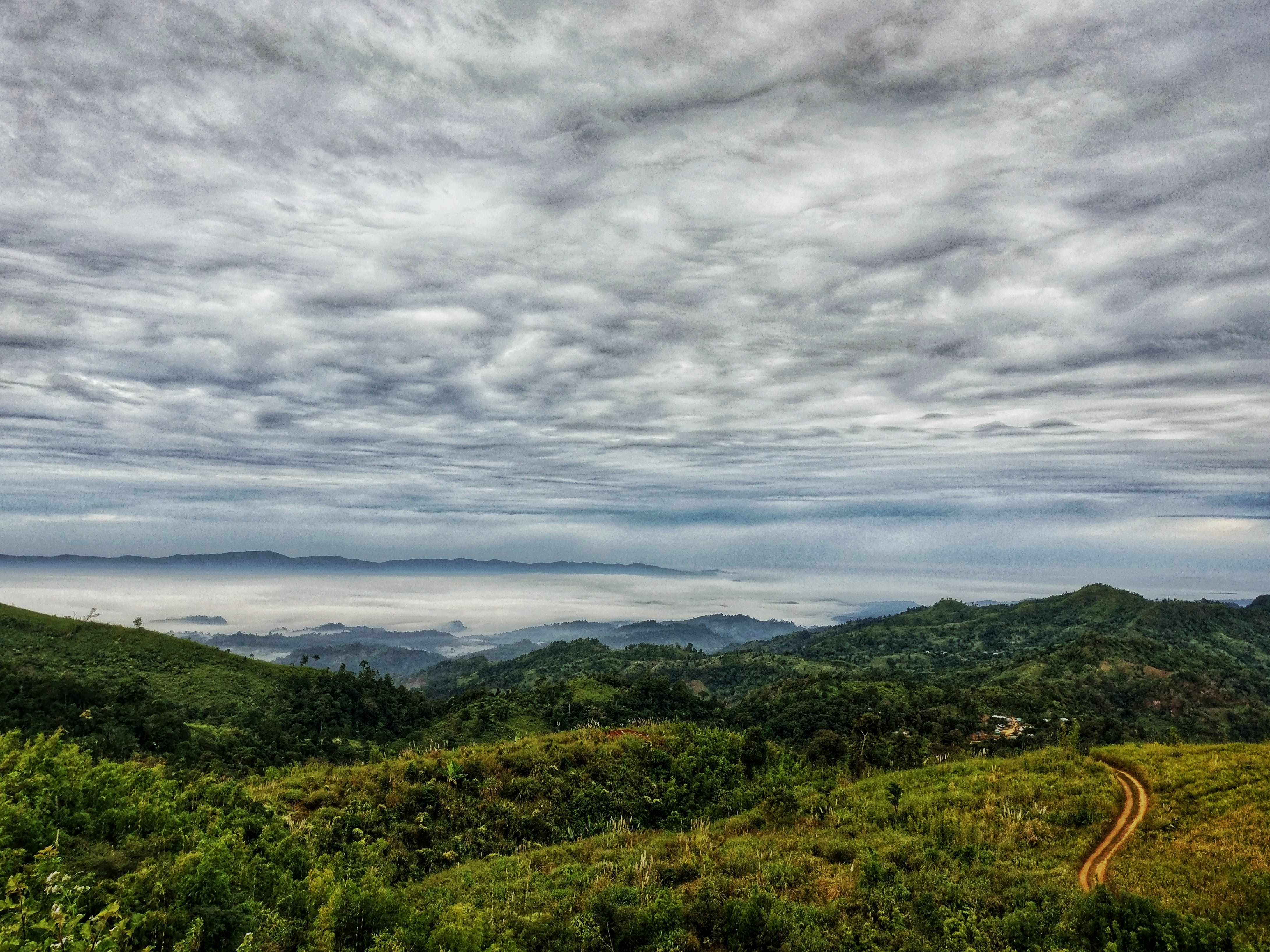 Free stock photo of beauty in nature, clouds, grey sky, hills