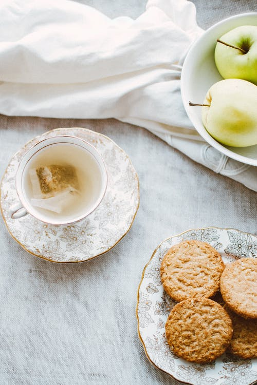 Bowl of Apples, Plate of Biscuits, and Teacup