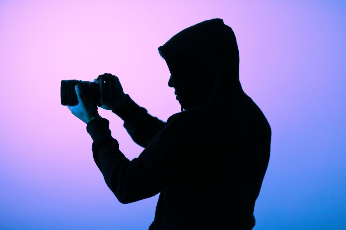 arte, azul, câmera