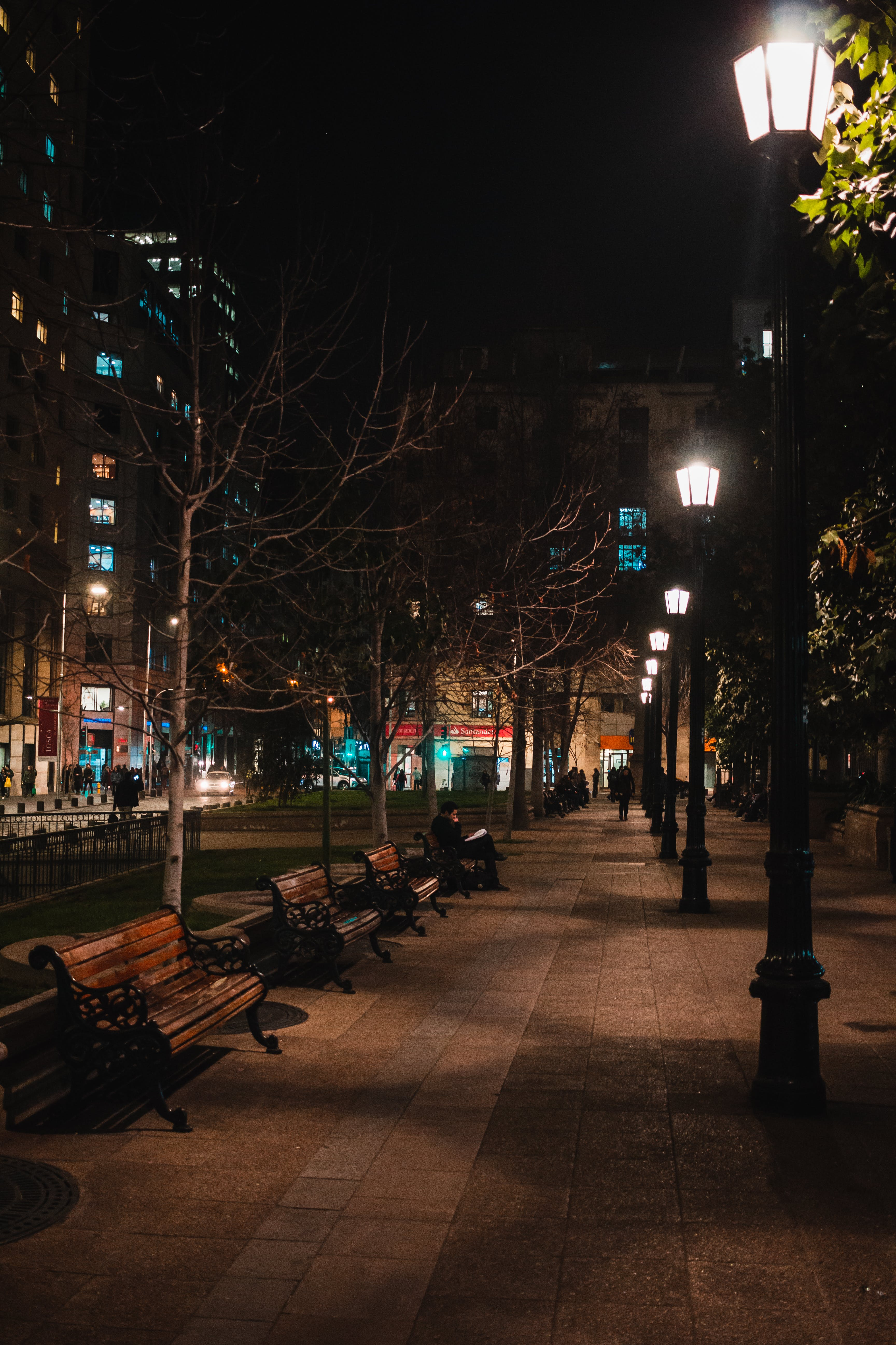 Lighted Post Lamps at Night