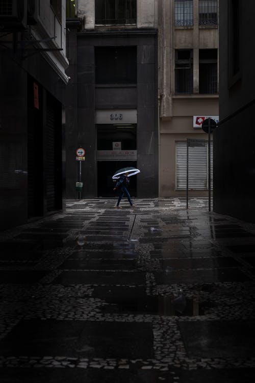 Photo of Person Walking in Alley