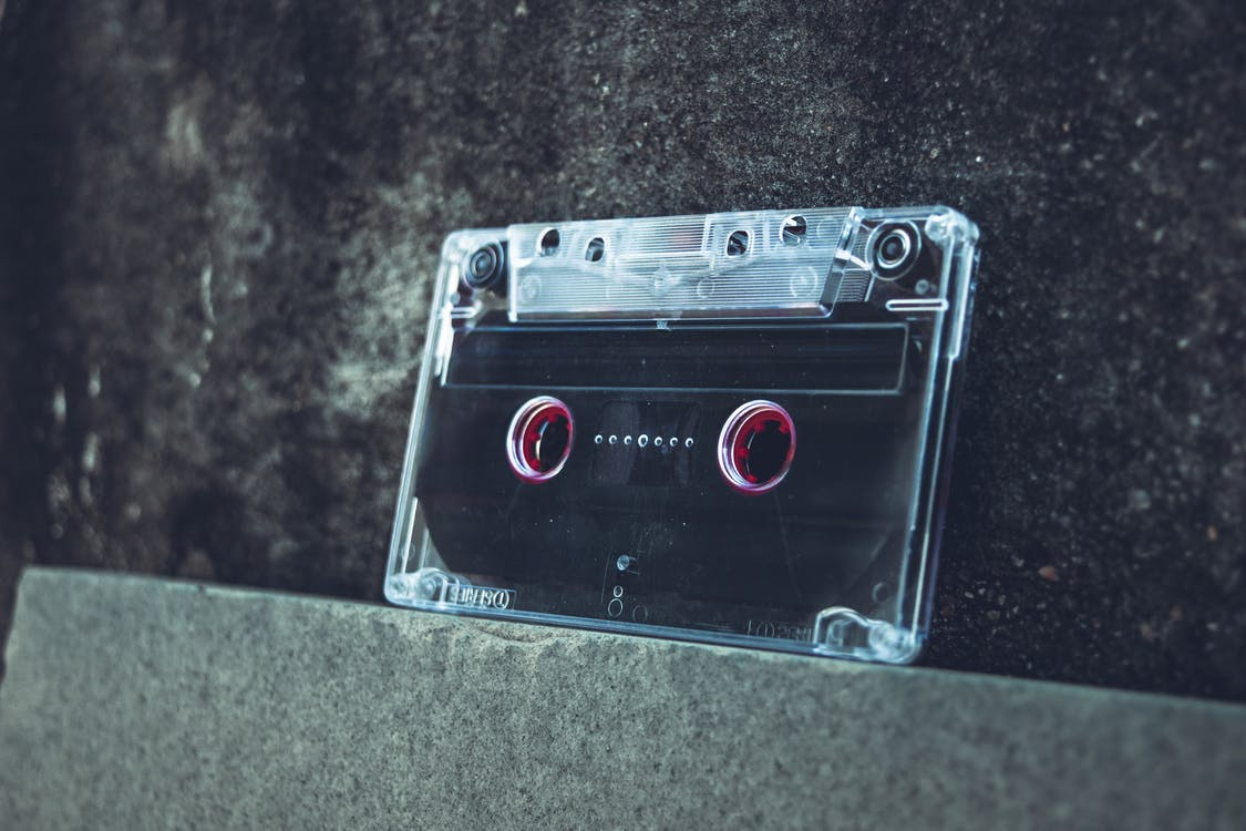 Cassette Tape On Concrete Surface