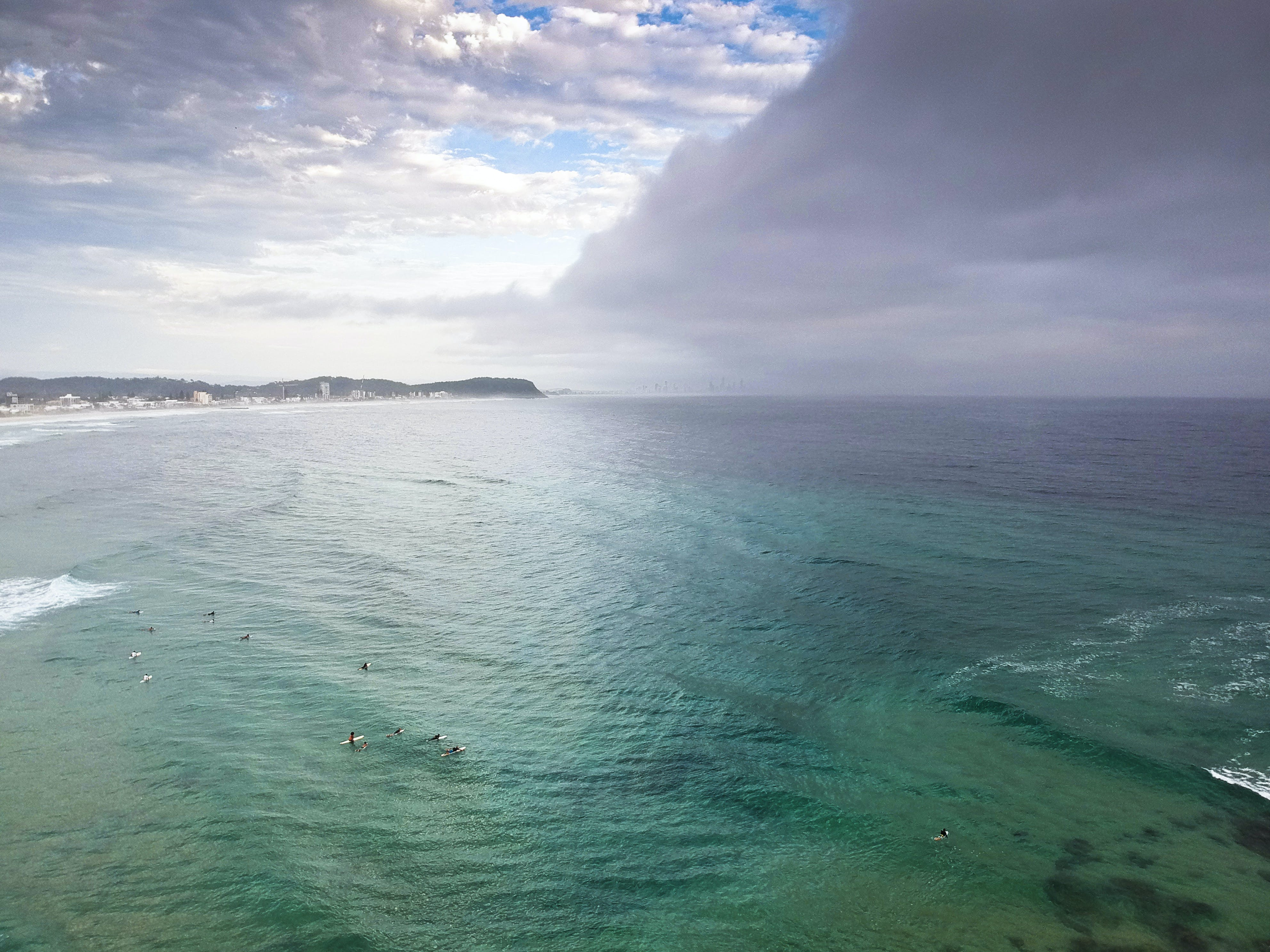 Free stock photo of beach, clouds, currumbin, drone