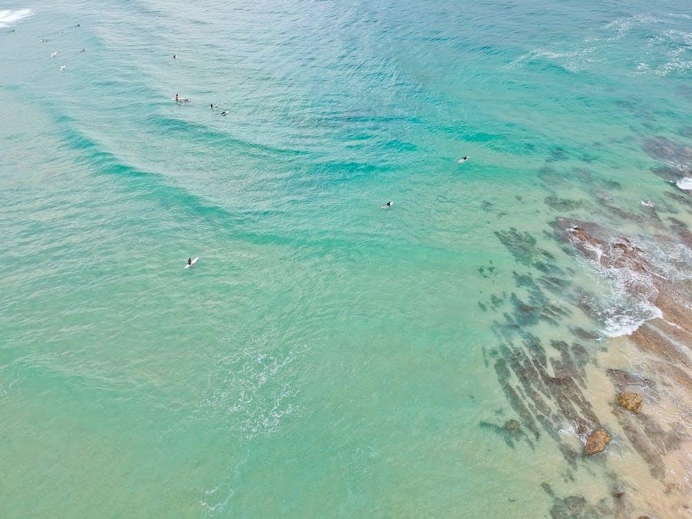 bølger, drone, grøn
