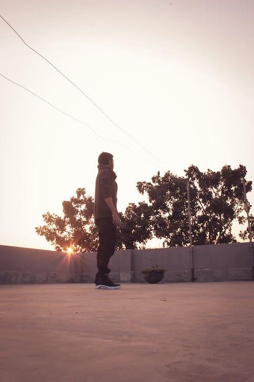 Imagine de stoc gratuită din acoperiș, apus, băiat, închis la culoare