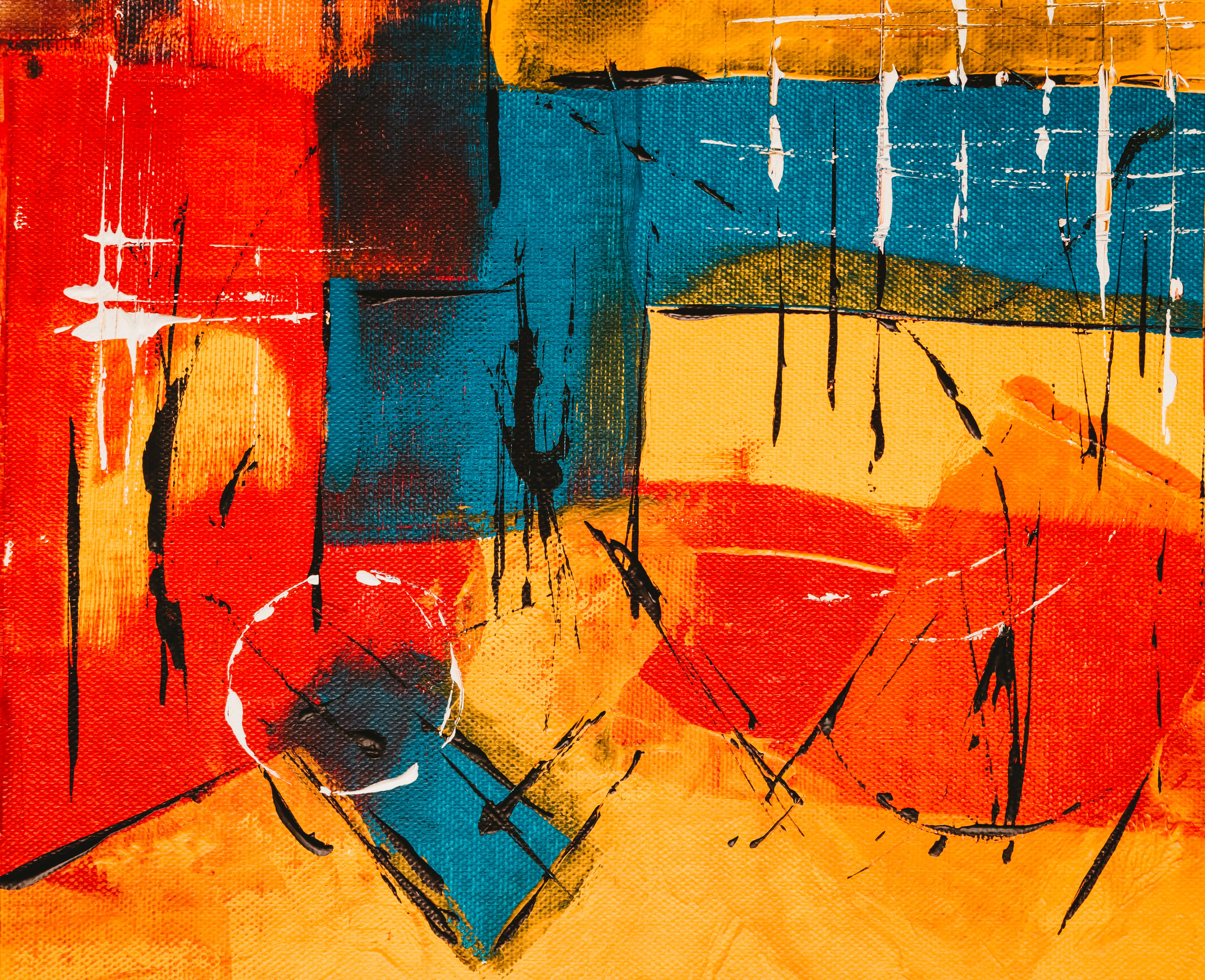 Red, Blue, and Yellow Abstract Painting