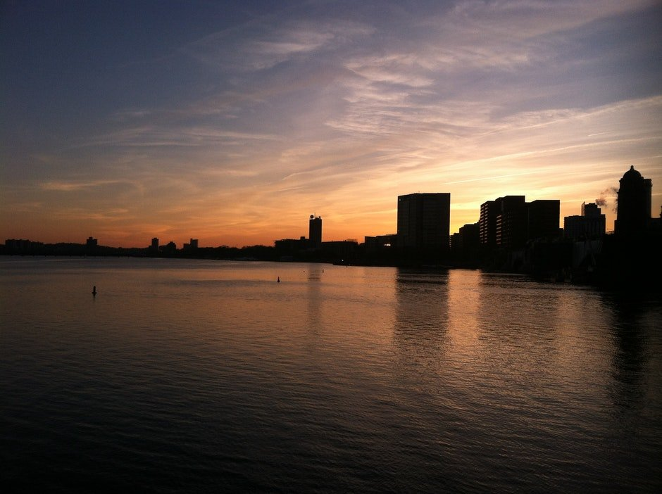 boston, dusk, skyline